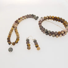 Load image into Gallery viewer, Gemstone jewellery set by Pellara, Oasis, made of Pyrite, Smoky Quartz, Jasper & Tiger eye. Leo, Virgo, Scorpio, Sagittarius, Capricorn & Gemini zodiacs. Aromatherapy
