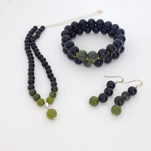 Load image into Gallery viewer, Gemstone jewellery set, Shades of Black by Pellara. Made of Jade, Obsidian, Agate & silver. Birthstone gift for Scorpio, Leo, Virgo, Taurus, Libra & Capricorn zodiacs