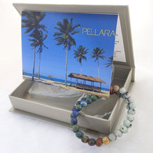Load image into Gallery viewer, Gift package for Gemstone Jewellery set, Summer Breeze by Pellara. Made of Silver, Picasso Jasper, Sesame Jasper & Azurite Malachite