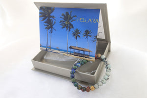 Gift package for Gemstone Bracelet, Summer Breeze by Pellara. Made of Picasso Jasper, Sesame Jasper & Azurite Malachite. 6mm