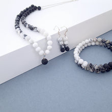 Load image into Gallery viewer, Gemstone Jewellery set by Pellara, Yin & Yang, made of Lava rock, Map Jasper, Black Silk Stone, Rutilated Quartz & Howlite, Aromatherapy necklace