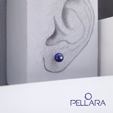 Load image into Gallery viewer, Sterling silver natural gemstone stud earrings contains a sparkling piece of Cubic Zirconia. Very light and hypo-allergenic, 6mm or 8mm beads. Lapis Lazuli