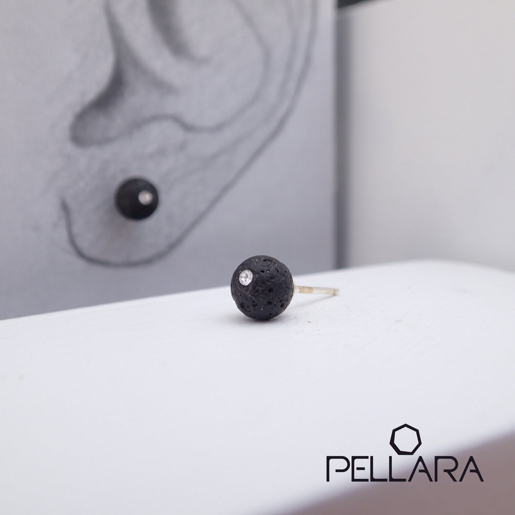 Sterling silver natural gemstone stud earrings contains a sparkling piece of Cubic Zirconia. Very light and hypo-allergenic, 6mm or 8mm beads. Lava Rock, aromatherapy