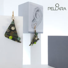 Load image into Gallery viewer, Triangle macrame earrings, Handmade in Canada, Drop earrings, Colour variation, Natural gemstones, Base alloy hooks, Camuflage Green