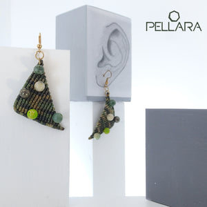 Triangle macrame earrings, Handmade in Canada, Drop earrings, Colour variation, Natural gemstones, Base alloy hooks, Camuflage Green