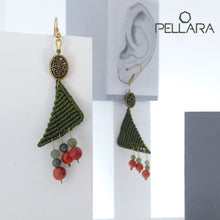 Load image into Gallery viewer, Triangle macrame earrings, Handmade in Canada, Drop earrings, Colour variation, Natural gemstones, Base alloy hooks, Jade Green
