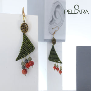 Triangle macrame earrings, Handmade in Canada, Drop earrings, Colour variation, Natural gemstones, Base alloy hooks, Jade Green