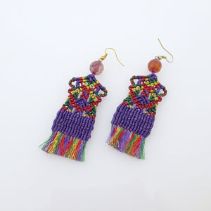 Traditional rug macrame earrings, Handmade in Canada, Drop earrings, Colour variation, Base alloy hooks, Purple