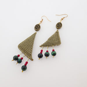 Triangle macrame earrings, Handmade in Canada, Drop earrings, Colour variation, Natural gemstones, Base alloy hooks, Dark Khaki