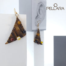 Load image into Gallery viewer, Triangle macrame earrings, Handmade in Canada, Drop earrings, Colour variation, Natural gemstones, Base alloy hooks, Camuflage Brown