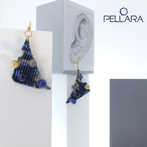 Triangle macrame earrings, Handmade in Canada, Drop earrings, Colour variation, Natural gemstones, Base alloy hooks, Camuflage Blue