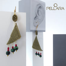 Load image into Gallery viewer, Triangle macrame earrings, Handmade in Canada, Drop earrings, Colour variation, Natural gemstones, Base alloy hooks, Dark Khaki