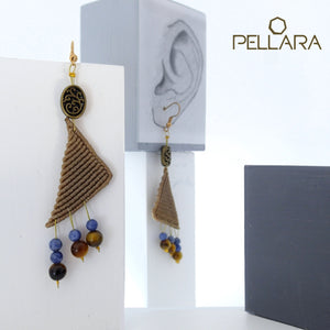 Triangle macrame earrings, Handmade in Canada, Drop earrings, Colour variation, Natural gemstones, Base alloy hooks, Khaki
