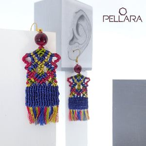 Traditional rug macrame earrings, Handmade in Canada, Drop earrings, Colour variation, Base alloy hooks, Royal Blue