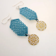 Load image into Gallery viewer, Golden Chrysanthemum flower, macrame jewellery set, Sterling silver chain and four pieces of enamelled pendants. Adjustable, Handmade, Turquoise