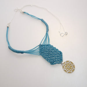 Golden Chrysanthemum flower, macrame jewellery set, Sterling silver chain and four pieces of enamelled pendants. Adjustable, Handmade, Turquoise