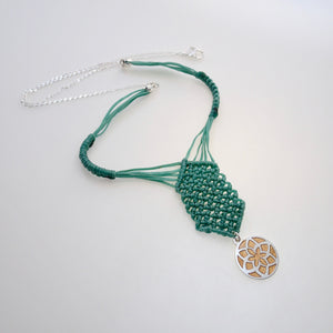 Golden Jasmine Flower, macrame jewellery set, Sterling silver chain and four pieces of enamelled pendants. Adjustable, Handmade, Bright Green theme