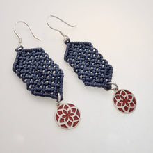 Load image into Gallery viewer, Red Jasmine Flower, macrame jewellery set, Sterling silver chain and four pieces of enamelled pendants. Adjustable, Handmade, Blue grey theme