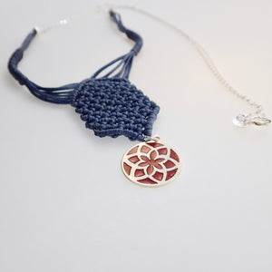 Red Jasmine Flower, macrame jewellery set, Sterling silver chain and four pieces of enamelled pendants. Adjustable, Handmade, Blue grey theme