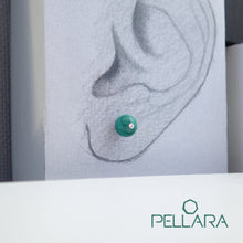 Load image into Gallery viewer, Sterling silver natural gemstone stud earrings contains a sparkling piece of Cubic Zirconia. Very light and hypo-allergenic, 6mm or 8mm beads. Malachite, Azurite Malachite