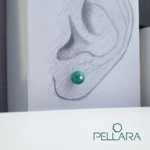 Sterling silver natural gemstone stud earrings contains a sparkling piece of Cubic Zirconia. Very light and hypo-allergenic, 6mm or 8mm beads. Malachite, Azurite Malachite