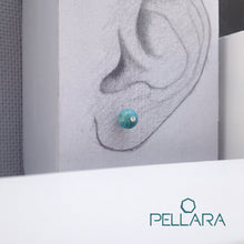 Load image into Gallery viewer, Sterling silver natural gemstone stud earrings contains a sparkling piece of Cubic Zirconia. Very light and hypo-allergenic, 6mm or 8mm beads. Amazonite