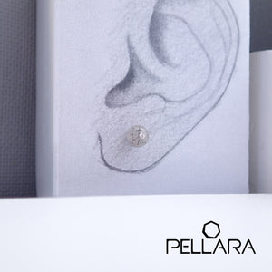 Sterling silver natural gemstone stud earrings contains a sparkling piece of Cubic Zirconia. Very light and hypo-allergenic, 6mm or 8mm beads. Quartz Family