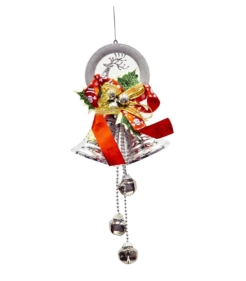 Noel Jingle Bells Ornement Double Noel Cloches Decoration Suspendue - Argent