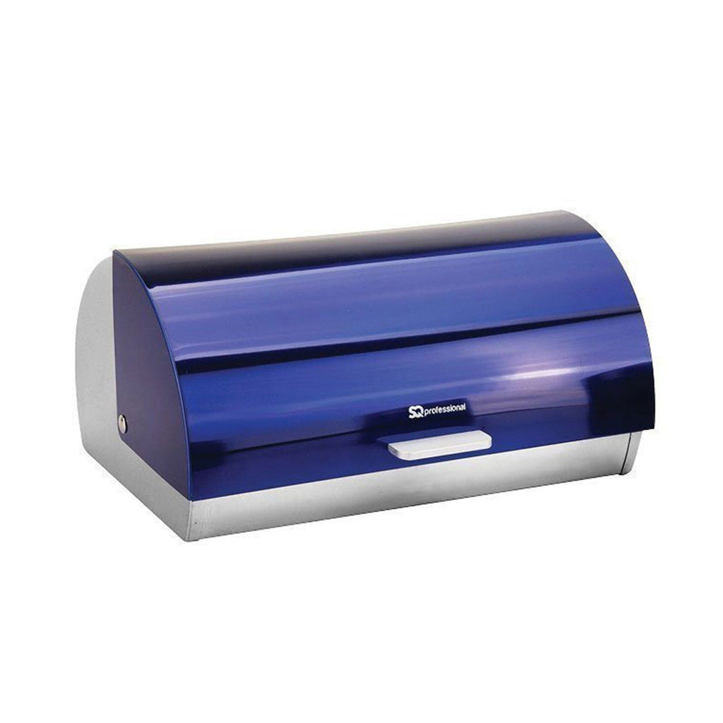 Bread Bins - Bread Bin & 3 Coffee, Tea & Sugar Canisters Set, Stainless Steel - Sapphire Blue