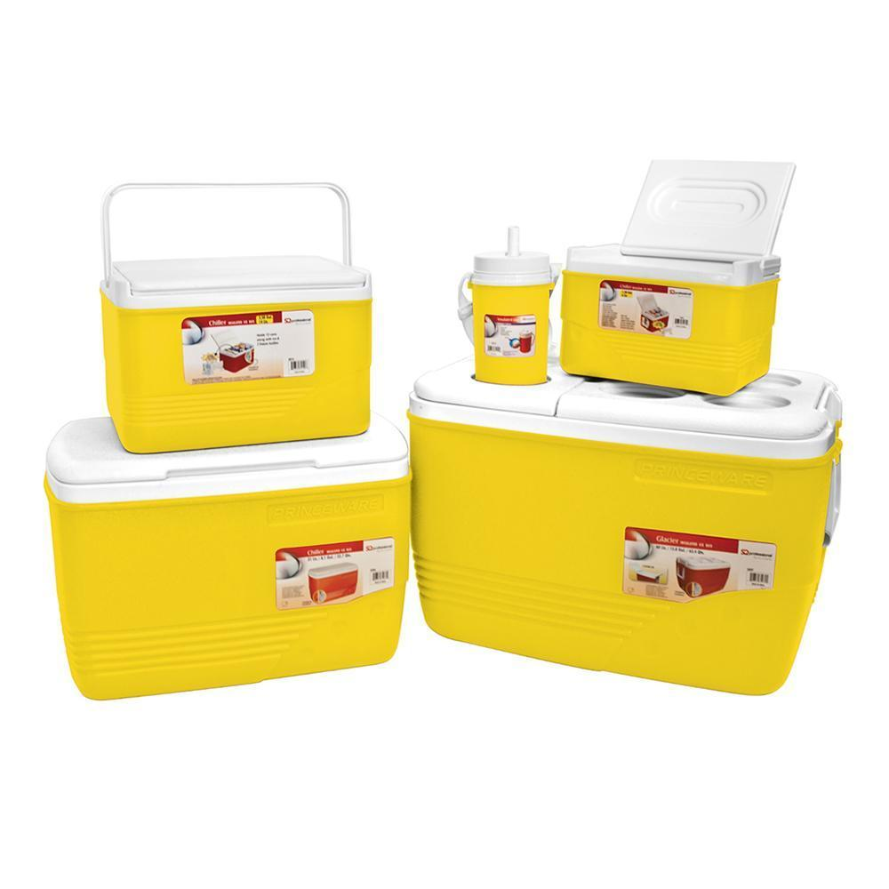 Coolers - Cooler Box Set 5pc Ice Chest Camping Picnic Insulated Food Containers - Yellow