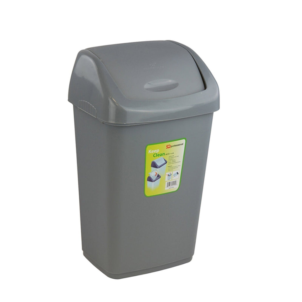 Swing Bins - Waste Bin With Flip Top – Plastic Swing Bin For Kitchen (Grey, 25L)