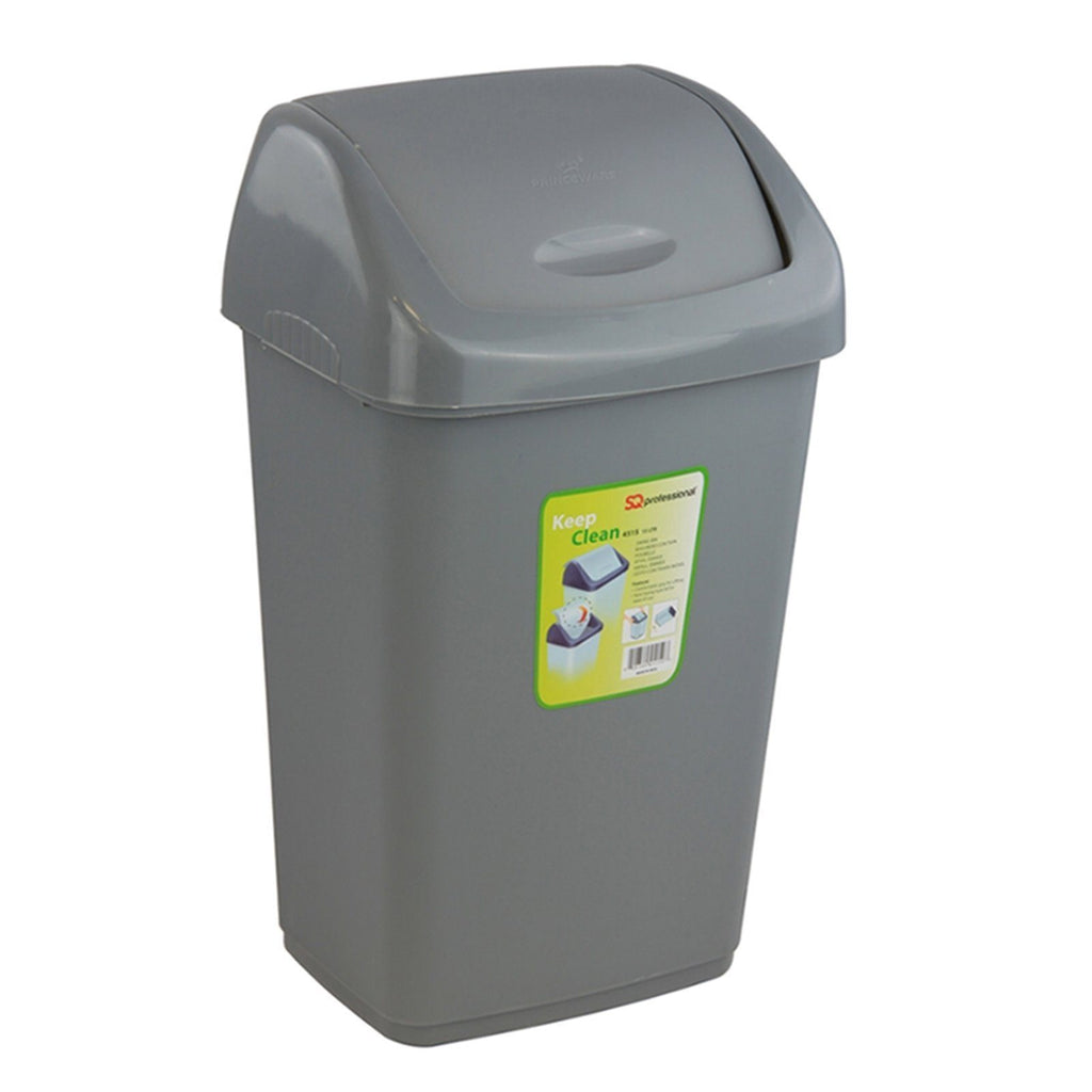 Swing Bins - Waste Bin With Flip Top – Plastic Swing Bin For Kitchen (Grey, 50L)