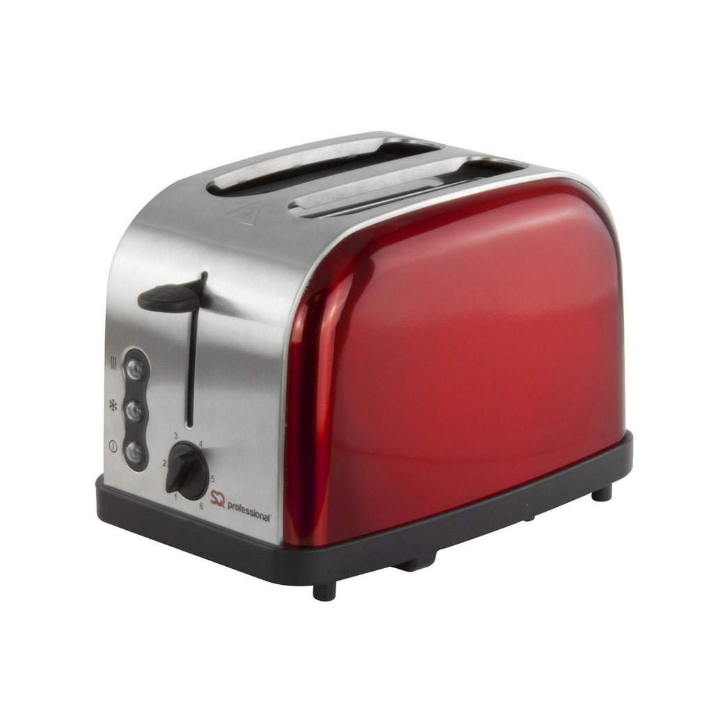 Toasters - Legacy 900W Toaster With Reheat, Defrost And Cancel, Stainless Steel - Red