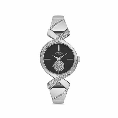 Women's Gemmed Silver Metal Watch