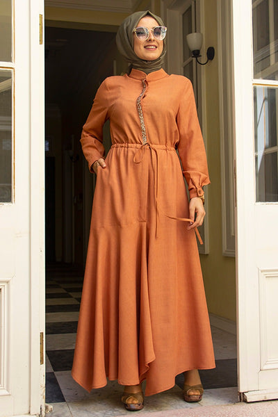 Women's Orange Linen Modest Long Dress