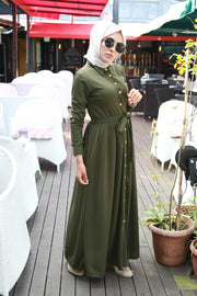 Green Pleated Maxi Dress
