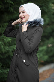 Women's Furry Hooded Black Coat