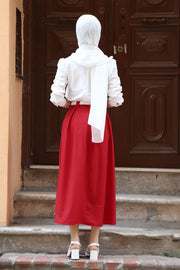 Women's Long Belted Pearl Pleated Red Skirt