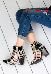 Women's Plaid Patent Leather Heeled Shoes