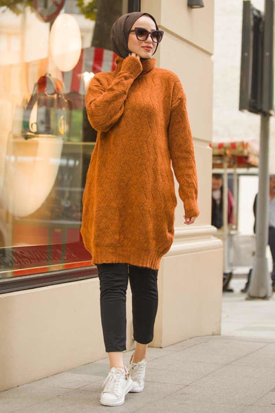 Women's Turtleneck Ginger Modest Tricot Poncho