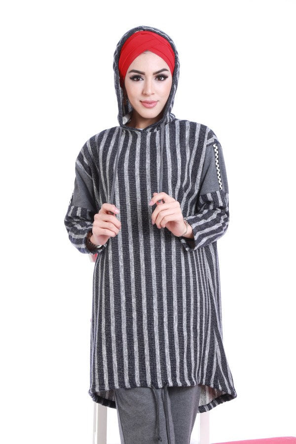 Hooded Striped Tunic Set