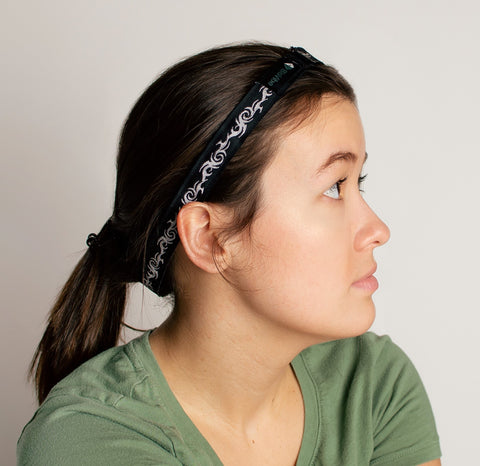 Wrap band around head for migraines.