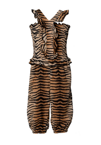 Tiger Print Ruffled Smoked Jumpsuit