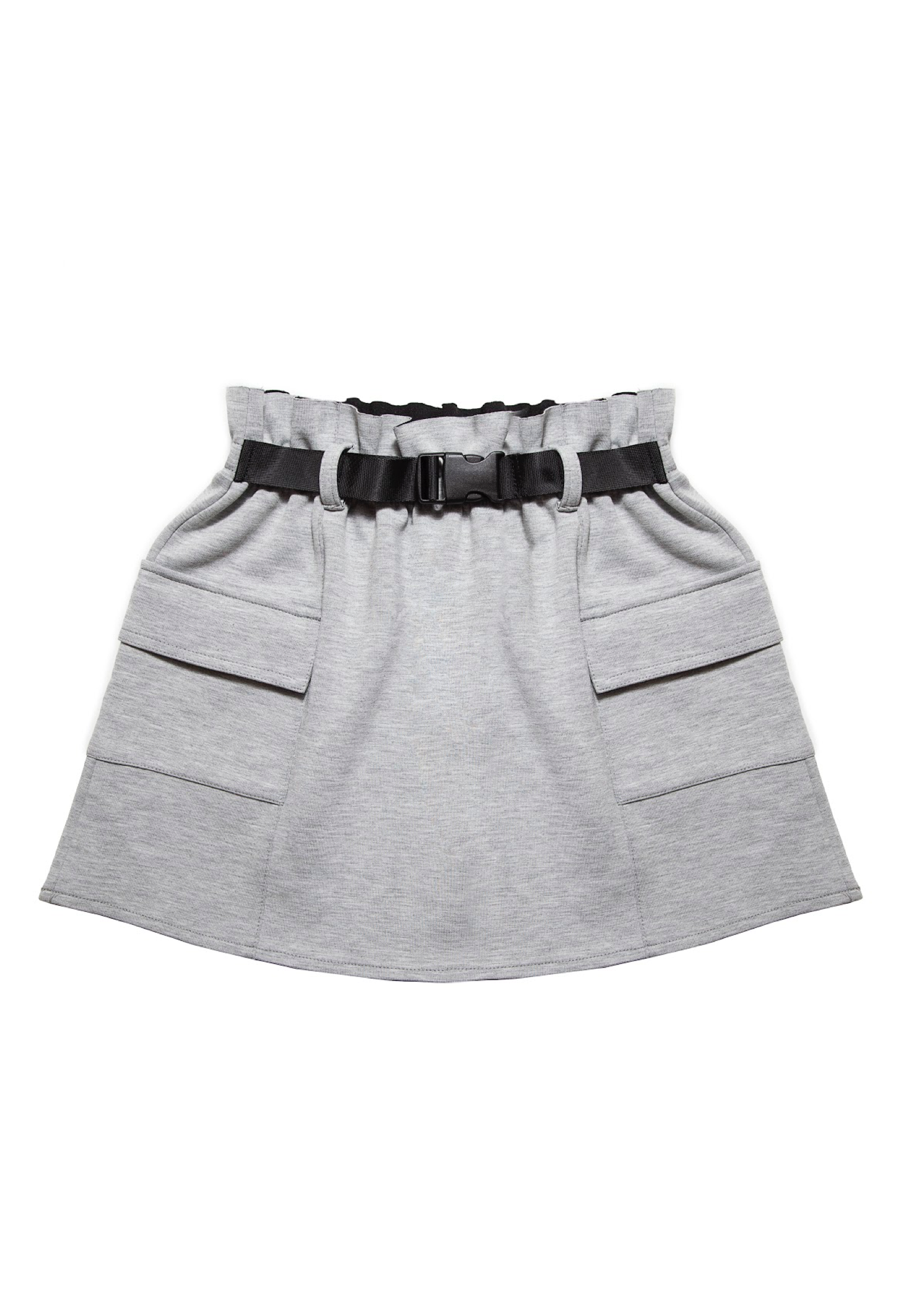 Studded Tee White Gray Skirt Set