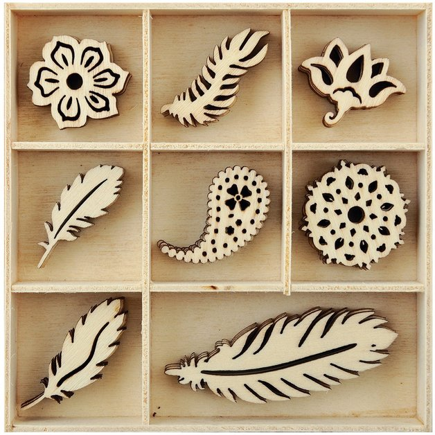 KAISERCRAFT Wooden Flourish Pack -Feather