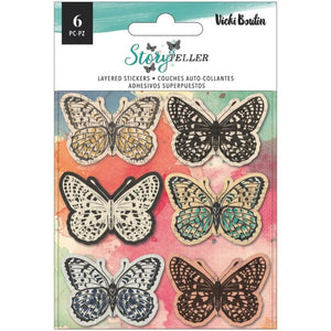 Vicki Boutin Story Teller Layered Stickers Butterflies 6pc