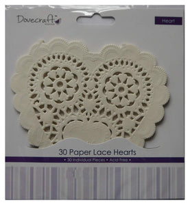 DOVECRAFT Paper Lace Hearts White 30pc