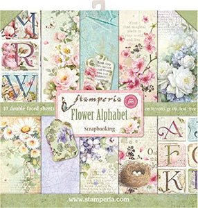 STAMPERIA -Flower Alphabet paper pack