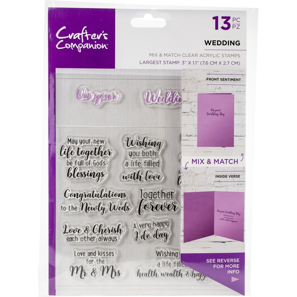 CRAFTERS COMPANION Rubber Stamp Set - WEDDING 13pc