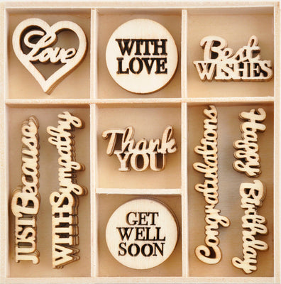 KAISERCRAFT Wooden Flourish Pack - With Love